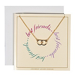 Johnny loves Rosie - Gold double circle necklace gift card