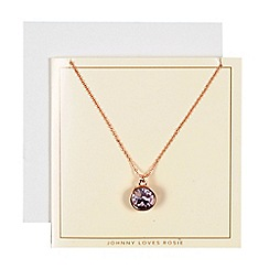 Johnny loves Rosie - Rose gold embellished necklace gift card