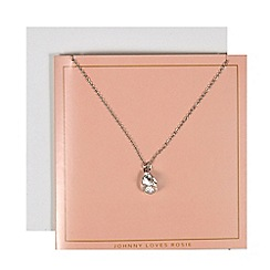 Johnny loves Rosie - Silver teardrop stone necklace gift card