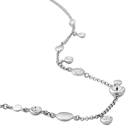 DKNY - Silver domed charm and gem necklace