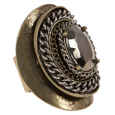 EB by Erickson Beamon - Small gold oversize chain plate ring
