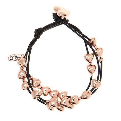 Pilgrim - Black multi strand heart bracelet