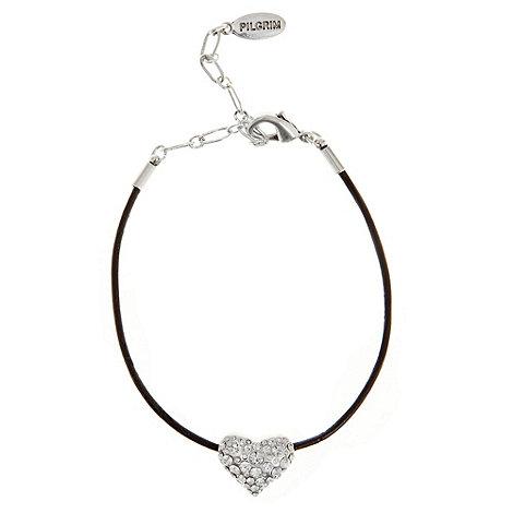 Pilgrim - Silver heart cord bracelet