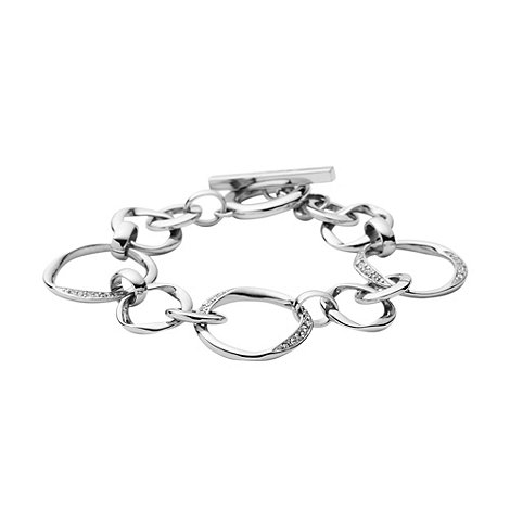 DKNY - Silver twisted diamante link bracelet
