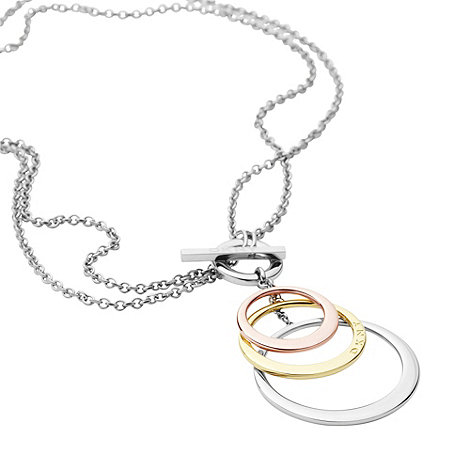 DKNY - Silver triple circle necklace