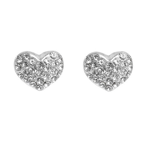 Pilgrim - Silver paved heart stud earrings
