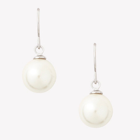 Finesse - Silver dropped pearly stone earrings