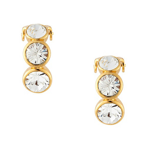 Finesse - Gold triple crystal clip on earings