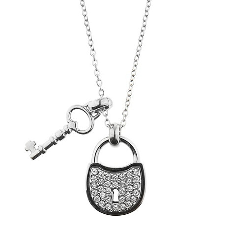 Fossil - Silver key and lock necklace