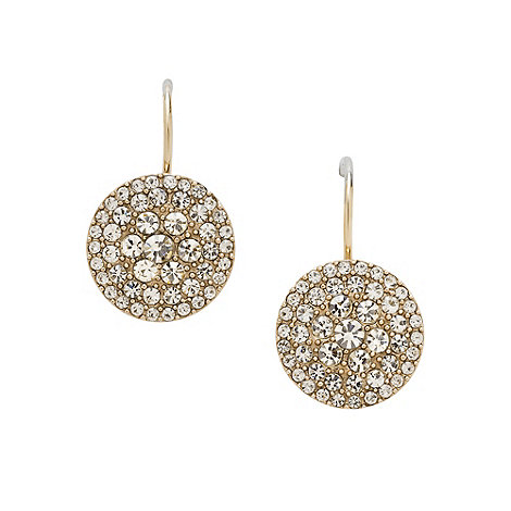Fossil - Gold stone disc drop earrings