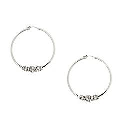 DKNY - Silver diamante ring hoop earrings