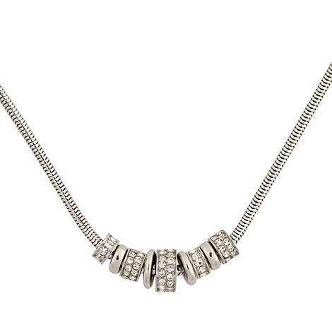 DKNY - Silver diamante ring necklace