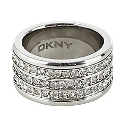 DKNY - Silver thick band diamante ring