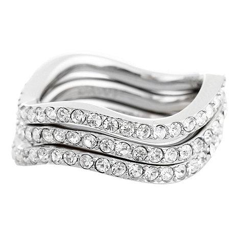 DKNY - Silver triple band diamante ring