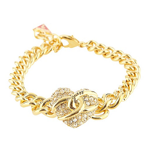 Guess - Gold diamante heart charm bracelet
