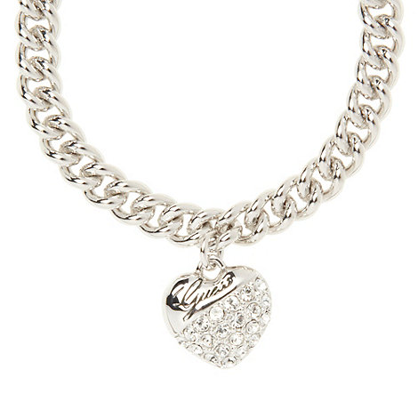 Guess - Rhodium plated heart link bracelet adopts a truly classic design ubb70205
