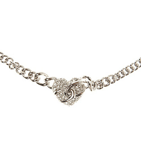 Guess - Silver diamante heart charm necklace