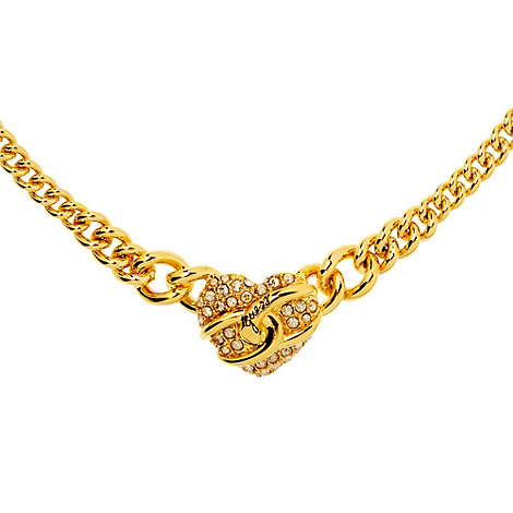 Guess - Gold diamante heart charm necklace
