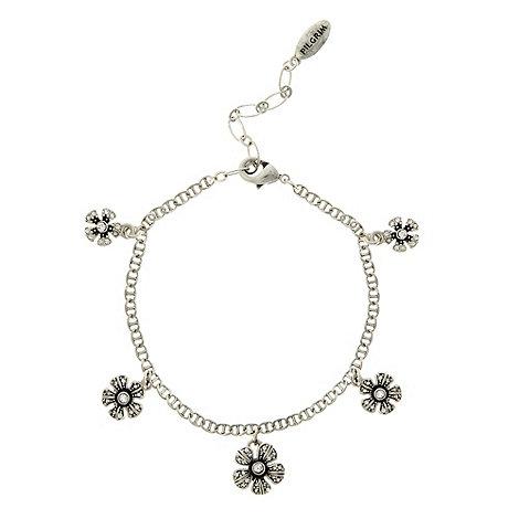Pilgrim - Silver flower charm bracelet