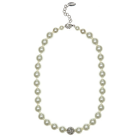 Finesse - White pear and pave ball necklace