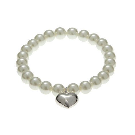 Finesse - Cream pearl and heart stretch bracelet