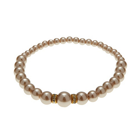 Finesse - Light brown graduating pearl stretch bracelet