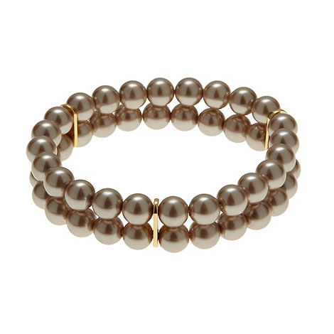 Finesse - Light brown pearl two-row stretch bracelet