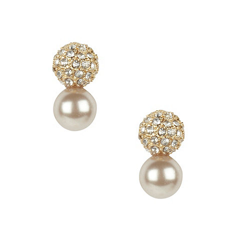 Finesse - Light brown pave ball stud earrings