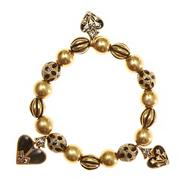 Gold art deco-style beaded stretch bracelet
