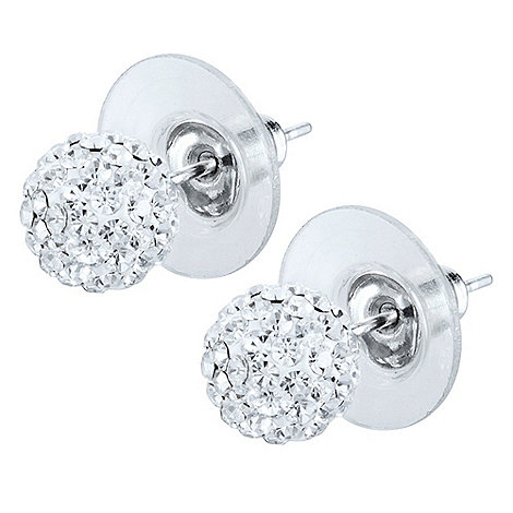Shimla - Silver small pave ball earrings