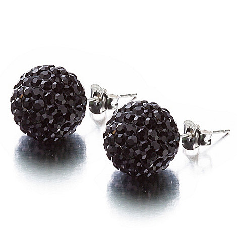 Shimla - Black large pave ball stud earrings