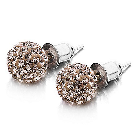 Shimla - Rose small pave ball earrings