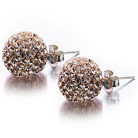 Shimla - Rose medium pave ball earrings