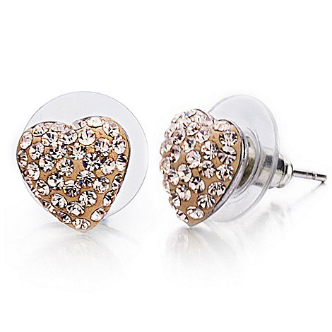 Shimla - Rose medium pave heart earrings