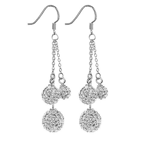 Shimla - Silver triple pave ball drop earrings