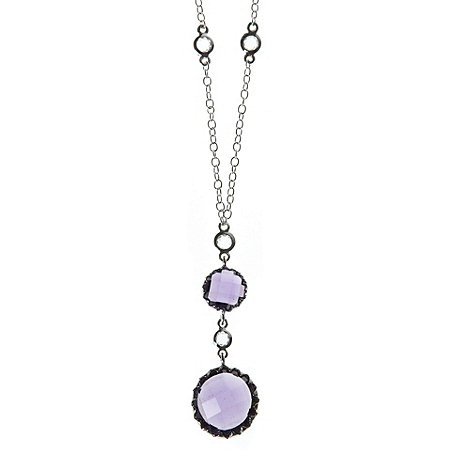 Finesse - Purple double round stone necklace