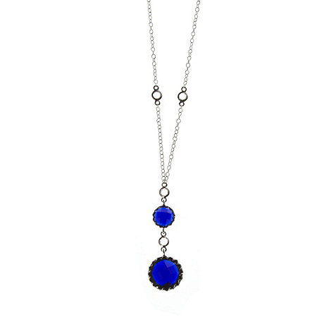 Finesse - Blue double round stone necklace