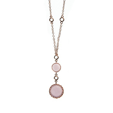 Finesse - Pale pink round stone drop pendant necklace