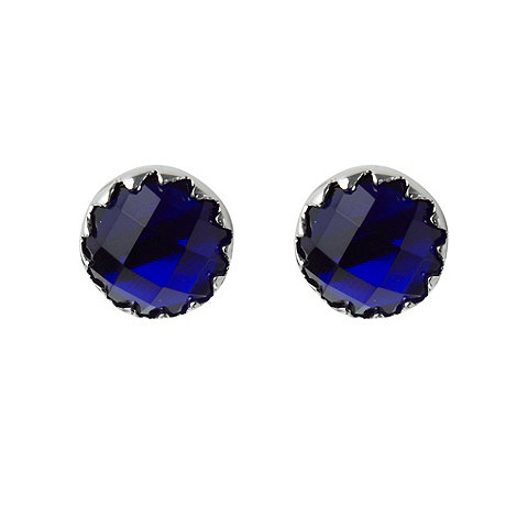 Finesse - Dark blue faceted stone stud earrings