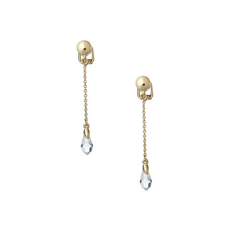 Finesse - Gold crystal and chain drop earrings