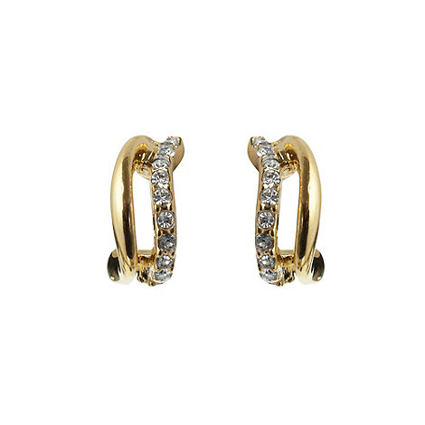 Finesse - Gold curve stone earrings
