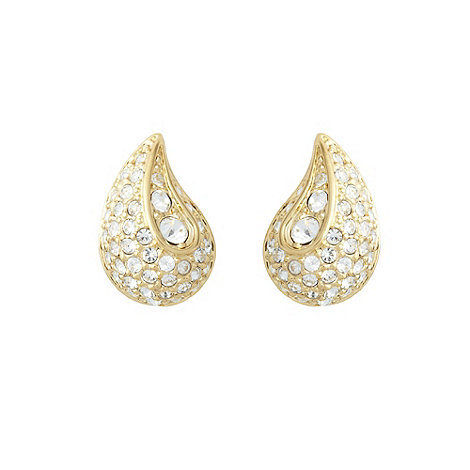 Finesse - Gold pave stone teardrop earrings