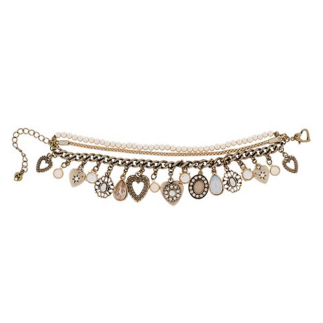Martine Wester - Gold & pearl multi chain charm bracelet
