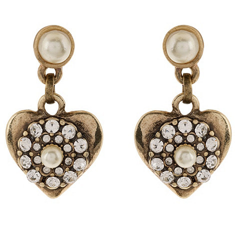 Martine Wester - Gold crystal heart drop earrings
