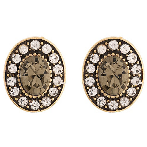 Martine Wester - Gold crystal oval stud earrings