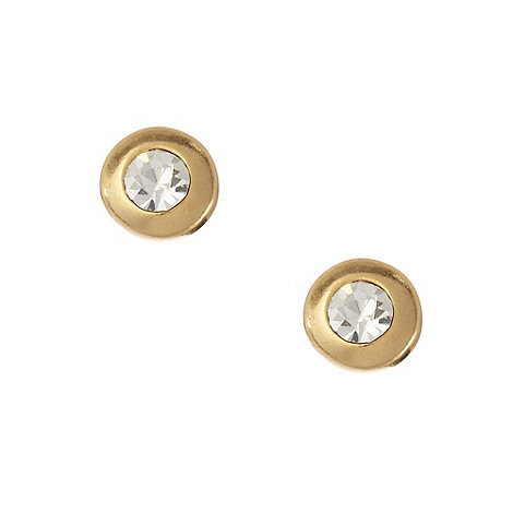 Pilgrim - Gold round diamante stud earrings