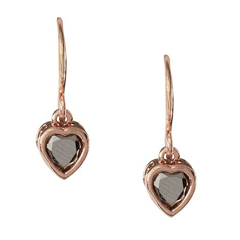 Pilgrim - Rose stone heart drop earrings