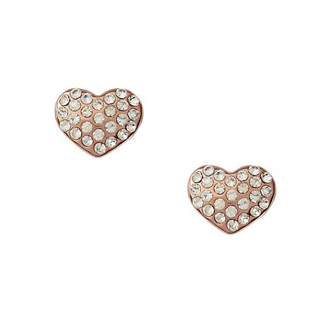 Pilgrim - Rose pave heart stud earrings