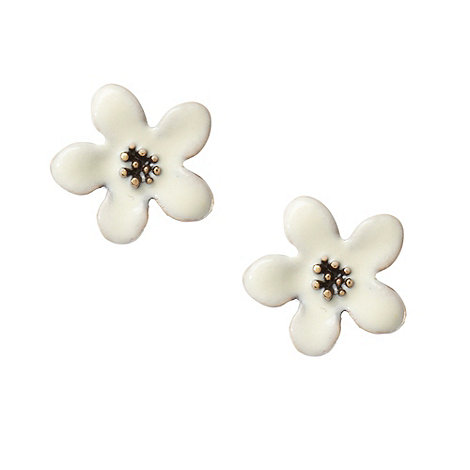 Pilgrim - Cream enamel flower stud earrings