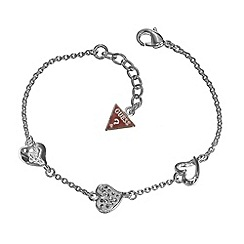 Guess - Rhodium plated heart charm bracelet ubb81103
